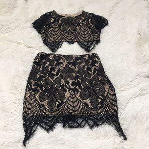 Black Lace Two Piece Set